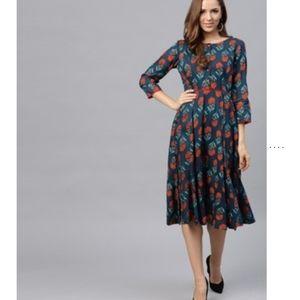 Anthro Sassafras blue floral dress long modest